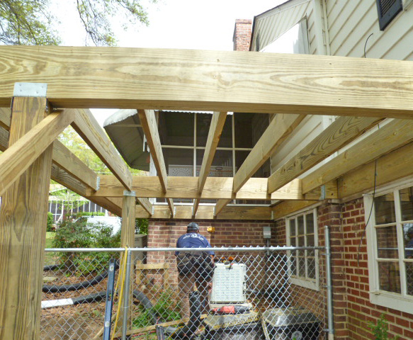 Big bear construction 2nd story wood deck for How to build a 2nd story deck